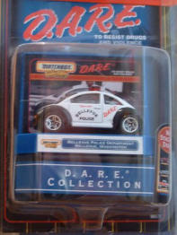 This is a smaller version of the neat 1:18 scale DARE Police car.  Nicely done, and kind of rare.  This was part of a series of DARE cars that was issued after people voted on their favourites on the Matchbox website.  Needless to say, many of us on the N