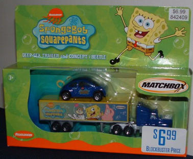 Just out in early 2003, this toy was sold in Blockbuster Video stores in the US.  I'm not sure what the connection is between Blockbuster and Nickleodeon, and why SpongeBob would have a New Beetle.